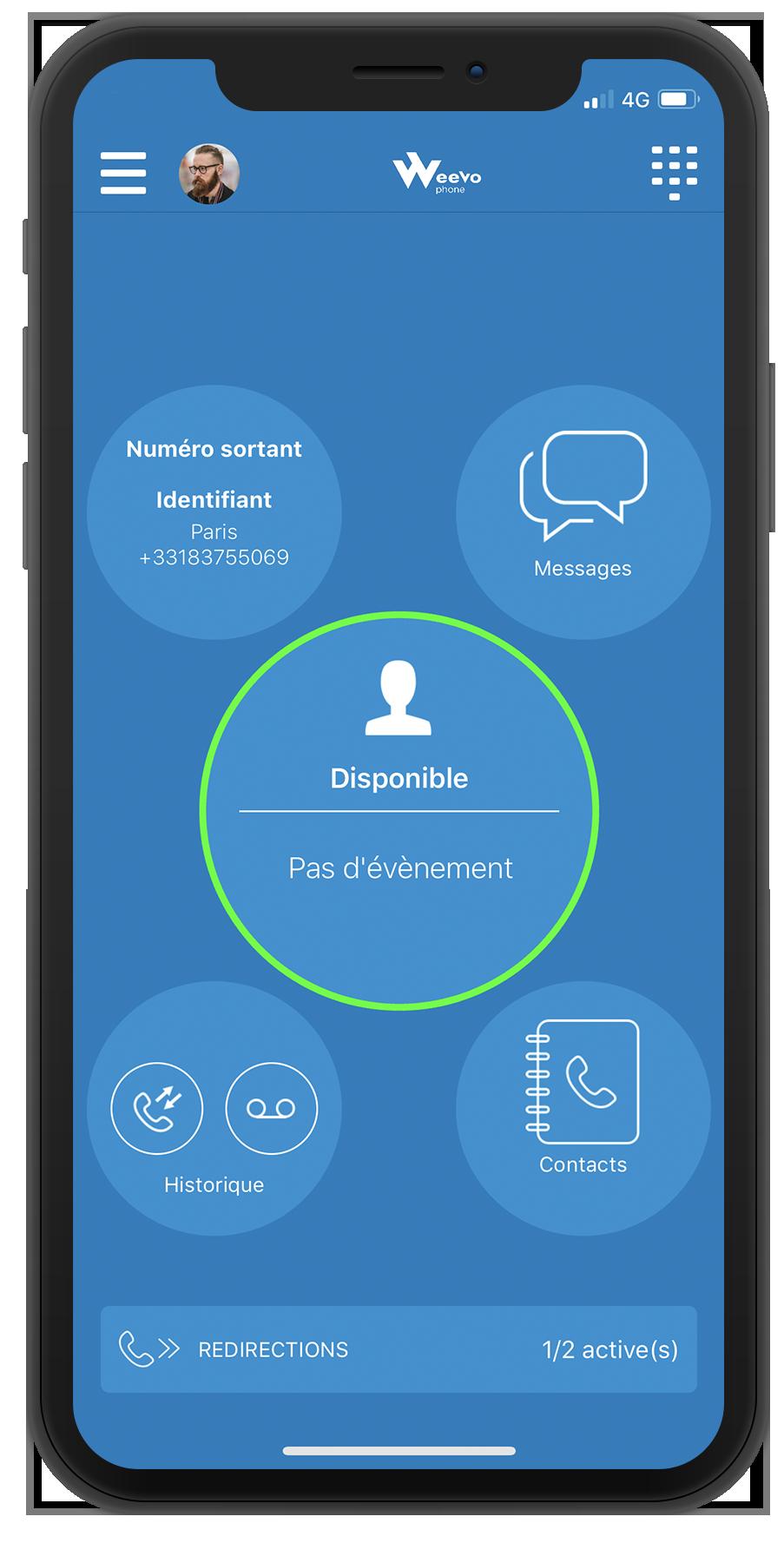 Accueil softphone mobile WeeVo Phone